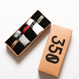 Wholesale zipper socks - New Designer 350 v2 man short socks 5 pair box high quality elastic 100% cotton running Boat socks luxury brand socks for sale one size