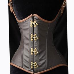 901f2b4411 Women s Gothic Steampunk Faux leather Boned Waist Cincher Corset Vest push- up Bust Vintage Retro Corset Tops Bustier