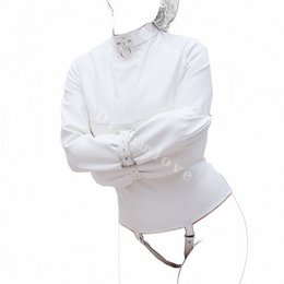 2019 più il catsuit d'argento di formato Womens Creamy White Straight Jacket per Medical Play Faux Leather Kinky Fantasy Straitjacket Top Fetish Gimp Gioco di ruolo Costume