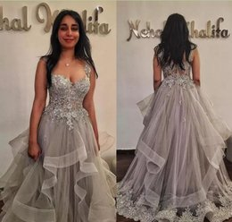 Wholesale Nude Prom Pictures - 2018 Silver Appliques Organza Evening Dresses Sleeveless Appliqued Formal Party Gowns Vestido De Novia Zipper Prom Dresses Pageant Dresses