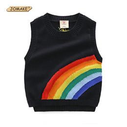 Wholesale girls knitting waistcoat vest - JOMAKE New Fashion Girl Boy Sweater Sleeveless Vest Rainbow Sun Pattern Children Knitted Pullover Coat Kids Waistcoat Sweaters