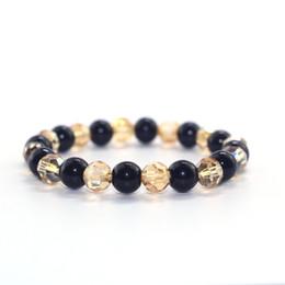 Obsidian armband für männer online-2018 Meistverkaufte elegante und Männer und Frauen Mode Perlen Obsidian Gold Kristall Kombination paar Armband Pulsera de Mujer