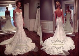 Wholesale vintage dress stores - Amazing Tulle Spaghetti Straps Neckline Mermaid shape Wedding Gown with Lace Appliques white dresses store zuhair murad empire bridal gown