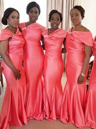 coral bridesmaid watermelon dresses Promo Codes - Irregular Neckline New Watermelon Mermaid Bridesmaid Dresses African Zipper Long Cheap Maid of the Honor Dress