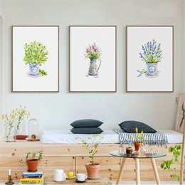Wholesale paint flower pots - Modern Canvas Paintings Princess Wall Art Nordic Style Cartoon Potted Flower Poster Prints HD Pictures For Kids Room Home Decor