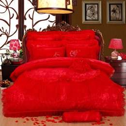 Wholesale Luxury Silk Bedspreads King Size - 4 6 10pcs Wedding Lace Stain Jacquard Bedding sets Red Luxury Royal Bedclothes Queen KIng size Bed set Duvet cover Bedspread