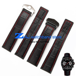 leather strap stitched Coupons - The high quality genuine leather watch strap Black Watchband with red stitched Strap 20mm 22mm Men Watch accessories