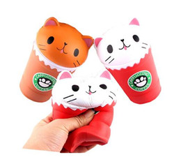 Wholesale Pussy Cupping - 14CM Jumbo Coffee Cup Cat Pussy Squeeze Squishy Kawaii Cute Animal Slow Rising Scented Bread Cake Squishy Kid Toys KKA3960