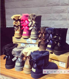 Wholesale red heelless shoes - kids adult EU25-43 Free shipping 2018 new Australian snow boots thick leather bow in the tube snow boots cotton shoes