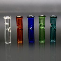 Mini cigarette à filtre en Ligne-Mini filtres en verre avec une bouche ronde et plate pour support d'herbe sèche Porte-cigarettes en tube de verre Pyrex Filtre Tuyaux pour fumer