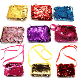 Wholesale Gift Bag Supplies - New Party Favor Gifts Luxury Mermaid Sequin Coin Purses Bag Reverse Velvet Lanyard Wallet For Kids Children Festive Prom Supplies HH7-364