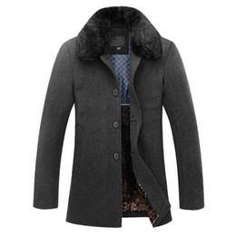 mens di cappotto incappucciato a lana singola Sconti Autunno e inverno nuovo high-end da uomo cappotto di lana di spessore business casual collo collo di pelliccia di colore solido Soprabito 4XL