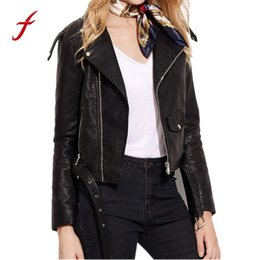 Wholesale Race Leather Jacket - FEITONG Autumn Winter Women Coat Ladies Fashion Faux Leather Racing Style Biker Jacket Pockets Long Sleeve Female Cardigan 2017
