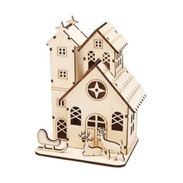 Wholesale Wooden House Decoration - New Christmas Decoration LED Lighting Small Wooden House Desktop Ornaments Scenery Props Christmas Party Decorations Gift