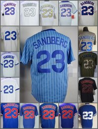 Wholesale Grey Pinstripe - 2018 Flexbase Chicago #23 Ryne Sandberg cool base Home Away Baseball Jersey Blue Gray Green White Pinstripe Cool Base Stitched Jerseys