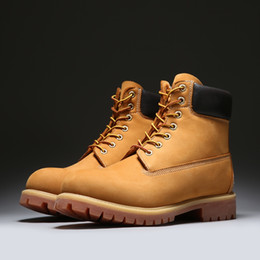 Wholesale yellow wedge boots - Timbland Boots 10061 classic Martin boots Men and women shoes Nubuck Premium Waterproof AAA Quality Genuine leather Come With Original Box