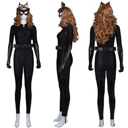 Женский костюм котенка онлайн-The Dark Knight Rises Catwoman Cosplay Costumes Zentai Catsuits Lady Girl Costume Cat Woman Zentai Bodysuit Halloween Superhero Costume