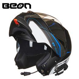 шлем с откидным верхом Скидка BEON Motorcycle Helmets Flip up Bluetooth Helmet Men Full Face Double Lens Motorbike Helmet Motocross Racing e Moto