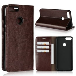 Wholesale handmade leather card wallet - for huawei p smart case luxury handmade Genuine leather multi-function wallet kickstand card slot flip cover for huawei psmart   enjoy 7s