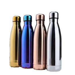 Wholesale stainless steel bowls lids - Fashion 17oz Water Bottle 500ML Vacuum Insulation Cup Sports 304 Stainless Steel Cola Bowling Shaped Travel Mugs