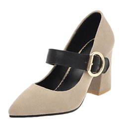 0c0583e4b720 Smilice 2018 Woman Faux Suede Pumps with Chunky Heel and Pointed Toe  Elegant Working Chic Dressy Shoes with Large Size Available A258  inexpensive chic work ...