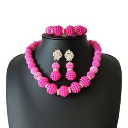 Collar de cuentas de acrílico de coral online-5 colores de acrílico precio especial de la boda perlas africanas conjunto de joyas para las mujeres collar de perlas aretes conjunto nigeriano indio nupcial joyería conjuntos