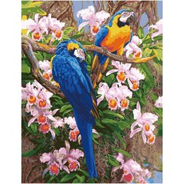 Wholesale Deco Birds - Hot DIY Oil Painting By Numbers Animals Parrot Frameless Painting On Canvas Home Decoration Home Wall Kids Room Deco bird