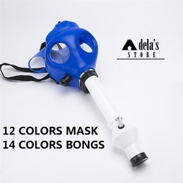 Wholesale Luminous Masks - Solid & Mixed Colored & Luminous Silicon Gas Mask Pipe Gas Mask Bong Color Glow In Dark Smoking Filter Silicone Oil 125