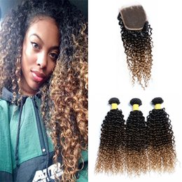Wholesale kinky curly ombre hair dye - 3 Tone Ombre Brown Blonde Hair Bundles and Closure 1B 4 27 Honey Blonde Ombre Kinky Curly Human Hair Weaves with Lace Closure