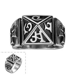 Wholesale quality text - 316L stainless steel top quality vintage charm silver text ring cool ancient jewelry for men Global Hot