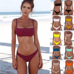 Wholesale hot sexy bikini women - Fashion Classic Solid color Women Bikini Sexy Push Up Swimwear Beach Swimsuit Hot spring swimming suit