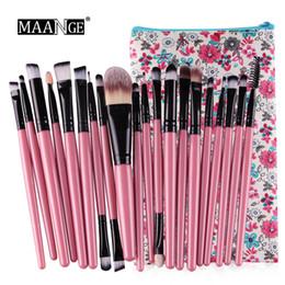 Wholesale make up white powder - 20pcs set Maange Professional Make up Brushes Portable Makeup Brushes Set Powder Foundation Lips Eyes Cosmetic Tools with Bags