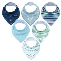 free baby packs Promo Codes - INS cotton baby bibs 6pack newborn infant boy and girls customized burp cloths with buttons 6pcs pack