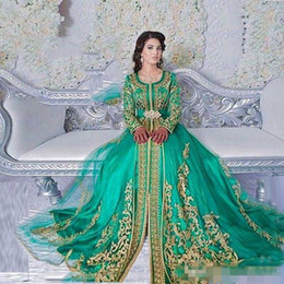 Wholesale emerald ruched dress - Long Sleeved Emerald Green Muslim Formal Evening Dress 2018 with gold detail Abaya Designs Dubai Turkish Prom Dresses Gowns Moroccan Kaftan