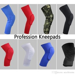 Wholesale brown knee pads - Free DHL Honeycomb Anti-collision Elbow Knee Pads Basketball Compression Pads Elastic Sports Bumper Brace Knee Protector Kneepads G453S