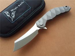 Wholesale Magic Blade Knives - Magic OEM Chav Custom 100% CPM-D2 Steel blade TC4 Titanium alloy ball bearing Folding Knife Camping Survival Knives EDC Tools Flipper