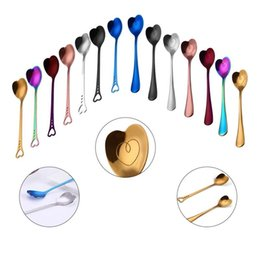 Wholesale Handles Wholesale - Love Heart-Shaped Spoon Stainless Steel Handle Spoon Cutlery Coffee Drink Tool Kitchen Gadget 14styles Spoon GGA301 50PCS