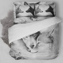 Wholesale Wolf 3d Bedding - Wolf Duvet Doona Quilt Cover Set Twin Full Queen King Size Animal Sketch Bedding Free Shipping