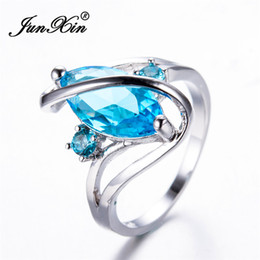 Wholesale White Zircon Ring For Men - whole saleJUNXIN Mystic Lake Blue Horse Eye AAA Zircon Rings For Women & Men White Gold Filled S Shape Wedding Bands Christmas Gift RW1514