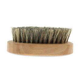 bräunungswerkzeuge Rabatt Neue Eber Haar Borsten Bart Schnurrbart Pinsel Militärharte Runde Holzgriff antistatische Pfirsich Kamm Friseurwerkzeug für Männer Heißer Verkauf