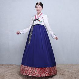 vestiti etnici tradizionali Sconti Costumi etnici coreani delle donne ricamati Hanbok tradizionale coreano manica lunga Lady Aisa Abbigliamento per Stage Performance