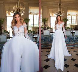 Wholesale Wedding Dresses Designed - 2018 New Design Bohemian Wedding Dresses Summer Sheer Neck Long Illusion Sleeves High Side Split Sexy Wedding Bridal Gowns Boho