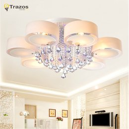 Wholesale Cristal Ceiling Led - Crystal Led Ceiling Lights modern fashionable design dining room lamp pendente de teto de cristal white shade acrylic lustre