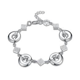 Pulsera de enlace de la libra esterlina online-Top venta! Un círculo conectado con una cadena de mano pulsera de plata esterlina SPB484; niñas de moda 925 de plata Enlace, pulsera de cadena