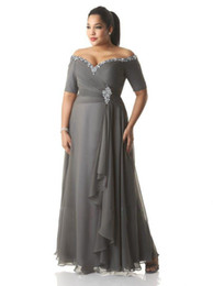 2019 vestido de sirena blanca kim kardashian Vestidos de gran tamaño por encargo Vestido de noche lentejuelas con cuentas fuera del hombro acanalado gris gasa vestido de fiesta Madre de la novia vestidos tobillo