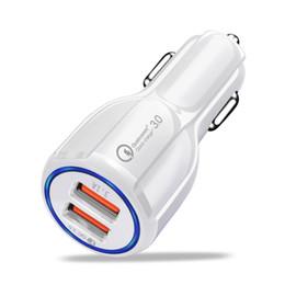 Cargador de coche samsung teléfono móvil online-Cargador USB para coche de 30W Cargador rápido para teléfono móvil 3.0 2.0 Cargador rápido para automóvil de 2 puertos USB para iPhone Cargador para coche con tableta Samsung