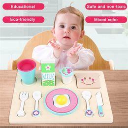 Giocattoli di legno della cucina del bambino online-Bambini Simulazione di legno Kit da colazione giocattolo Neonate maschi Ragazze finta Gioca giocattoli da cucina in legno Kid giocattolo educativo precoce regalo