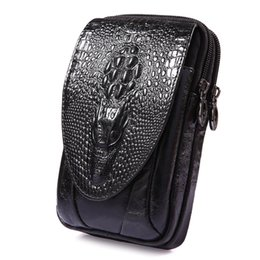 belt cases cell phones Coupons - Men Genuine Leather Crocodile Pattern Vintage Cell Mobile Phone Cover Case Skin Hip Belt Bum Fanny Pack Waist Bag Purse