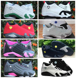 Wholesale womens shoes size 14 - 14 XIV Mens Womens Basketball Shoes Fusion Varsity Red Suede Thunder Black Men Woman Playoffs 14s Sport Sneakers Size Eur 36-47