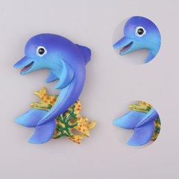 2019 resina delfino Nuova resina 3D Cute Blue Dolphin Souvenir Magnete frigo per bambini Piccolo regalo Refrigator Adesivi magnetici Decorazione domestica resina delfino economici